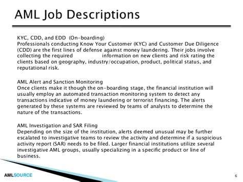 Aml Investigator Cover Letter by Introduction To Careers In Anti Money Laundering Aml