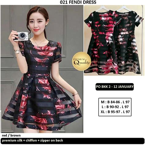 Po Dress Import High Quality Premium A42410 fendi dress supplier baju bangkok korea dan hongkong premium quality import thailand