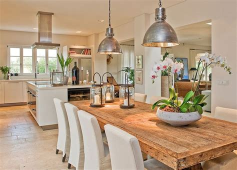 open kitchen and dining room designs open concept kitchen interior table and chairs industrial and farmhouse table