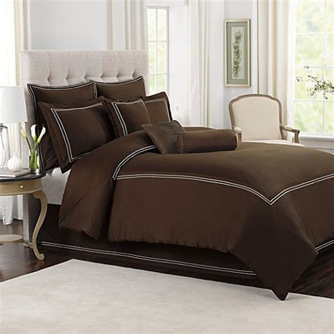 stitch bedding buy wamsutta 174 baratta stitch twin comforter set in chocolate from bed bath beyond