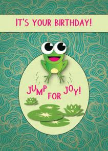 Cute Card With Frog Jumping For Joy! Free Happy Birthday
