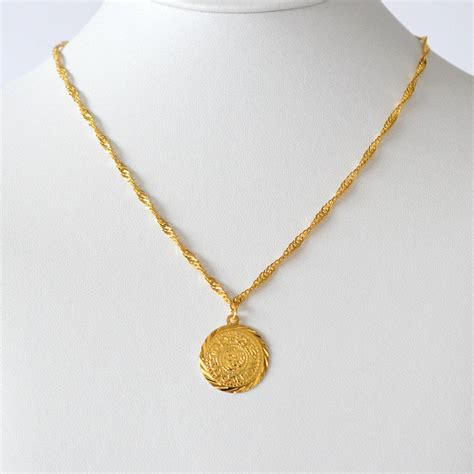 babylonian coin necklace pendant