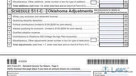 Working Tax Credit Form Sle Form 511 Oklahoma Resident Income Tax Return And Sales Tax Relief Credit Form