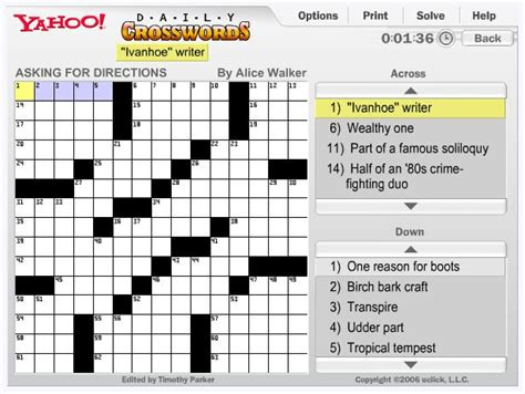 easy crossword puzzles online games play free yahoo daily crosswords online games