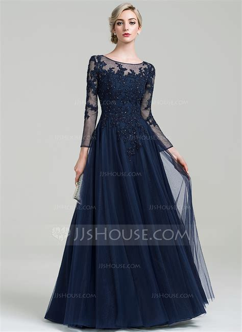 jjs house a line princess scoop neck floor length tulle evening dress with beading sequins