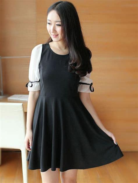 Black Shirt Dress Korea Korean Fashion Chiffon Half Sleeve Black Dress