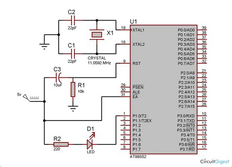 led interfacing with 8051 microcontroller 89s52 tutorial