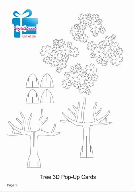 3d tree card template best 10 pop up card templates ideas on pop up