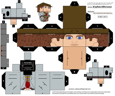 Cubee Papercraft - cubee the 4th doctor 1of2 by cyberdrone on deviantart