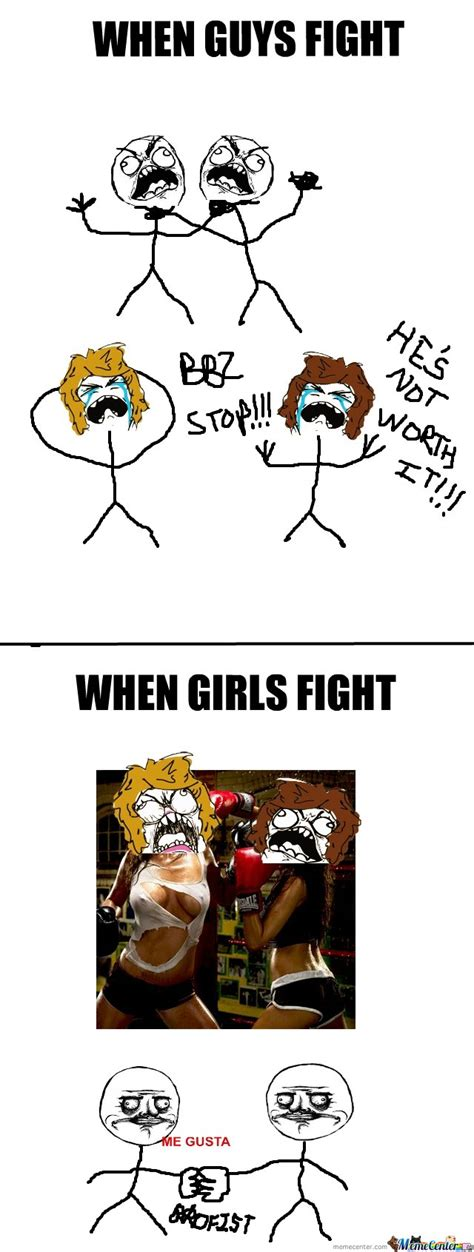 Girl Fight Meme - when guys fight vs when girls fight by kingtimmahbee