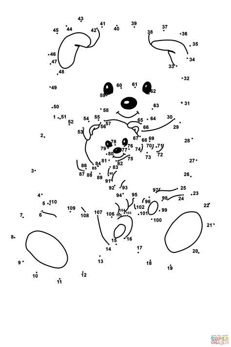 free printable dot to dot up to 100 dibujo de oso de peluche con osito para colorear unir