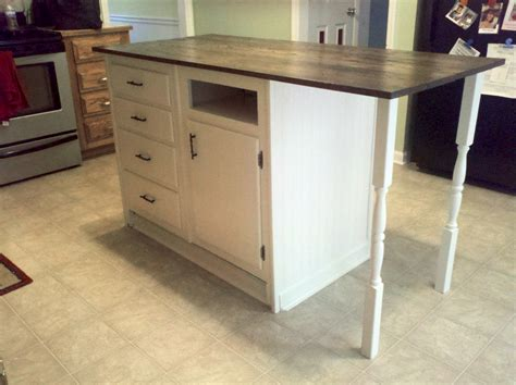 old base cabinets repurposed to kitchen island base