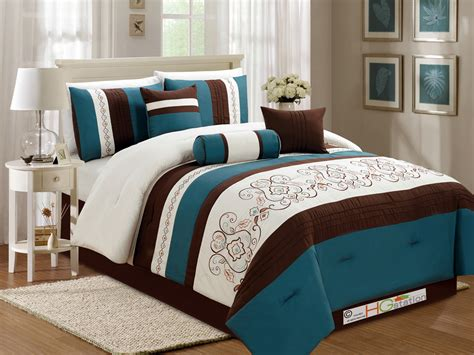 teal brown bedroom 7 pc floral scroll damask embroidery piping comforter set