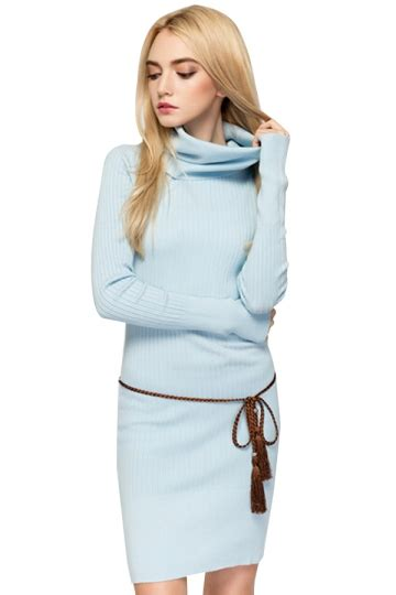 Plain Turtleneck Knit Dress womens turtleneck bodycon plain knit sweater dress