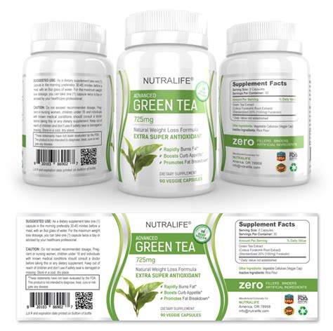 dietary supplement label template green tea extract supplement label template dlayouts graphic design