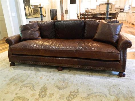 ralph leather sofa with nailhead treatment 20th