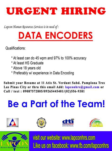 data encoder hiring pinoyjobs ph