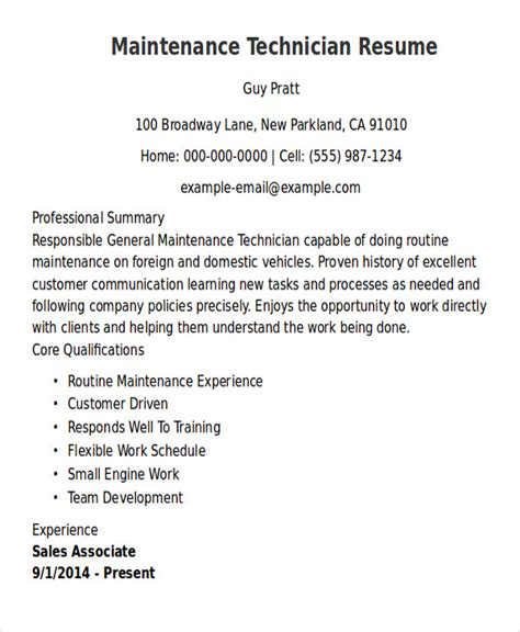 Maintenance Technician Resume by 9 Sle Maintenance Technician Resumes Sle Templates