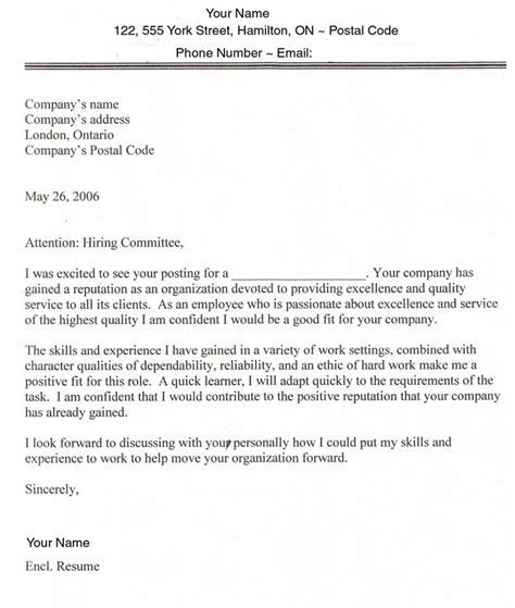 Exle Of Covering Letter For Employment by Sle Cover Letters For Employment Sle Cover Letter