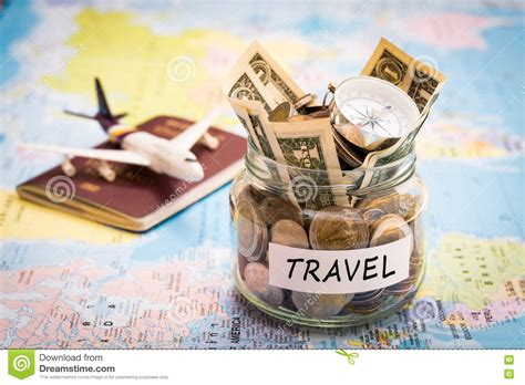 travel budget concept with compass passport and aircraft