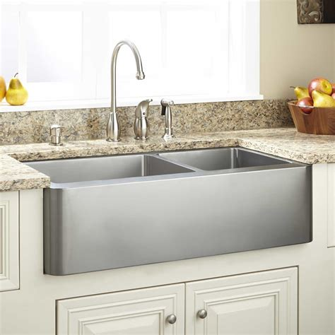 stainless steel farmhouse kitchen sink 33 quot hazelton 60 40 offset bowl stainless steel