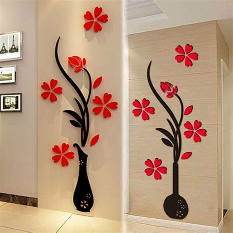 home wall decor stickers 3d vase flower diy mirror wall decals stickers home