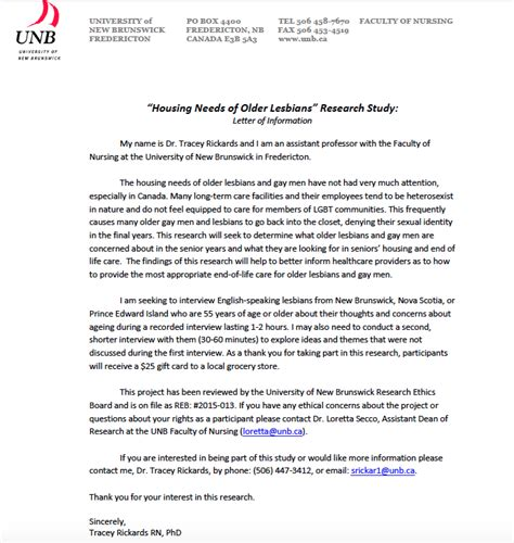 Research Information Letter Invitation To Participate In A Research Study Quot Housing Needs Of Quot Nbsprn