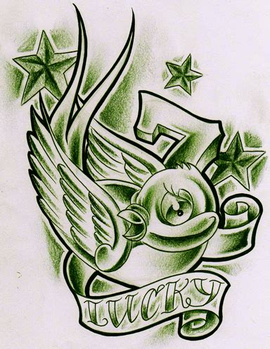 lucky 7 tattoo designs green lucky 7 birdy by willemxsm on deviantart