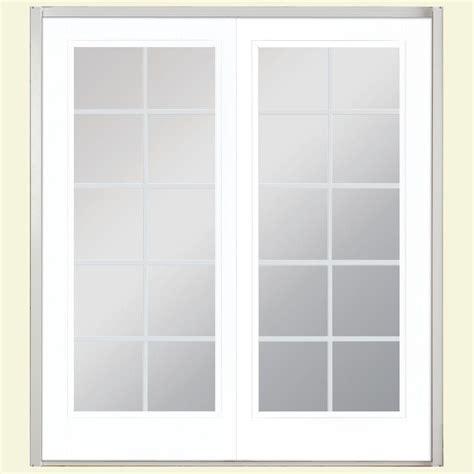 Masonite Patio Door Masonite 72 In X 80 In Ultra White Prehung Left Inswing 10 Lite Fiberglass Patio Door
