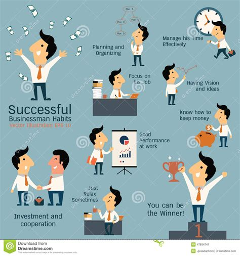 The Daily Routines Of 7 Entrepreneurs Buffer Successful Businessman Habits Stock Vector Image 47854741