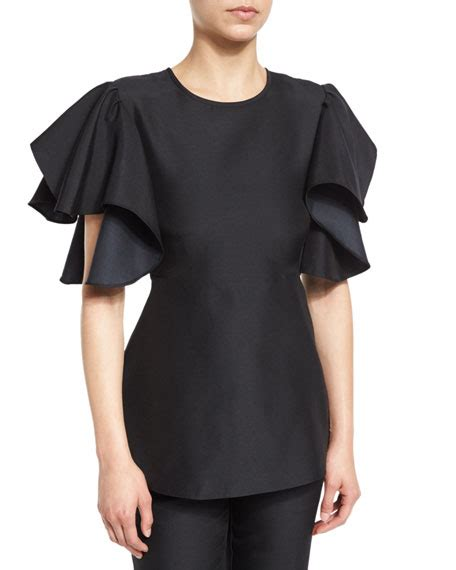 Peplum Blouse 1 co ruffled sleeve peplum blouse black