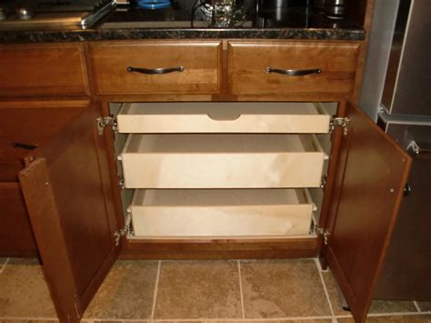 Kitchen Cabinet Organizers Pull Out Shelves Pull Out Shelves In A Kitchen Cabinet Kitchen Drawer Organizers Boston By Shelfgenie Of