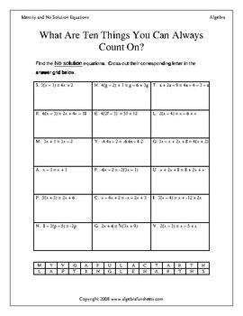 identity and no solution equations worksheet solving identity and no solution equations worksheet by