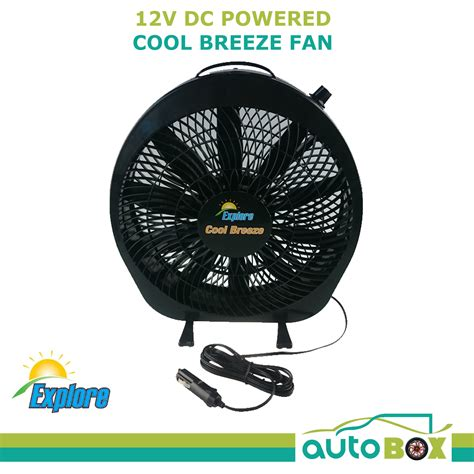 12 volt portable fan explore cool 12 volt dc black portable fan caravan
