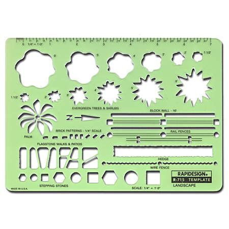 Rapidesign Landscape Drafting And Design Template By Office Depot Officemax Garden Design Drawing Templates
