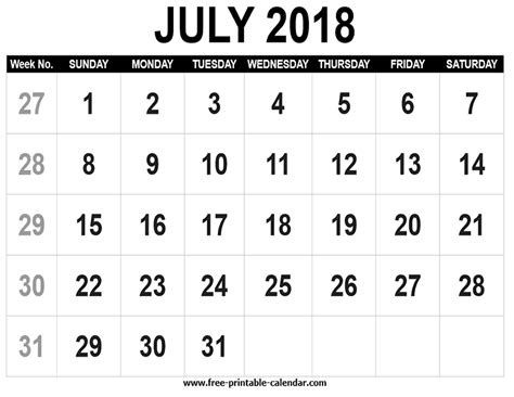 printable calendar 2018 by week free printable calendar 2018 july free printable