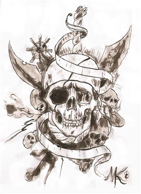 pirate skull tattoo design idea with banner pinteres