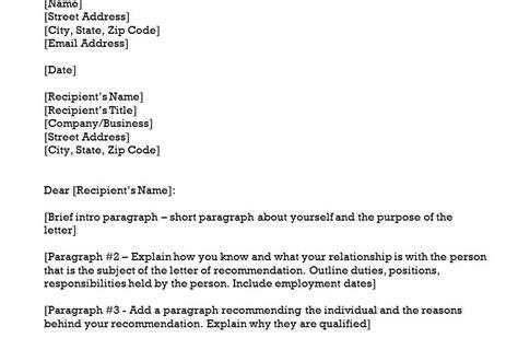 recommendation letter template letter recommendation