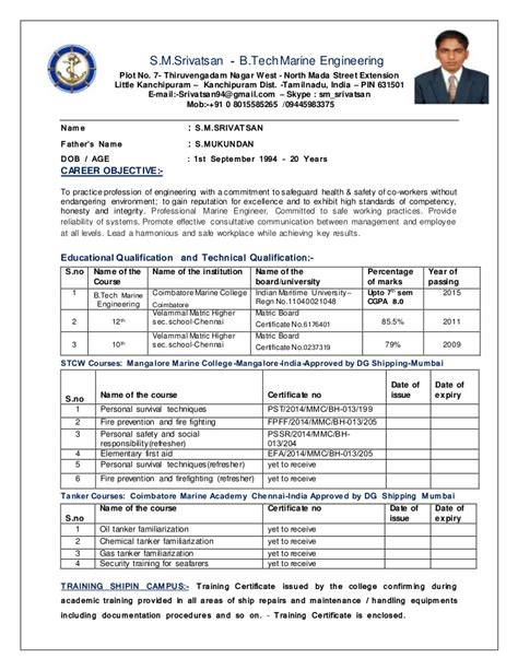 Marine Engineer Sle Resume by Career Objective For Marine Engineers 28 Images Sle Resume It Technical Support Great Exles