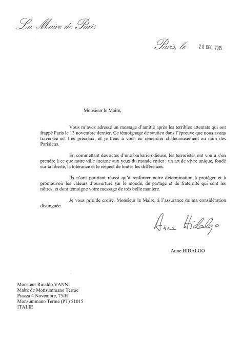 lettere di ringraziamento formale lettera di ringraziamento sindaco di parigi