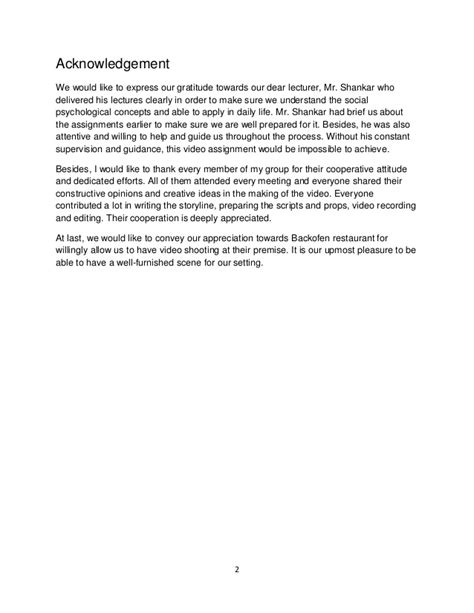 Acknowledgement Letter For Assignment social psychology assignment report