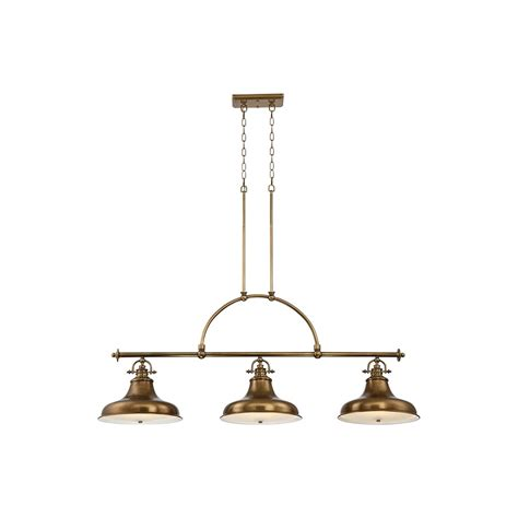 Quoizel Island Light Quoizel Emery Vintage 3 Light Island Pendant In Weathered Brass