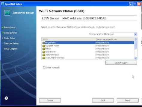 how to reset wifi for epson l355 setting wifi printer epson l355 adhoc winxp youtube
