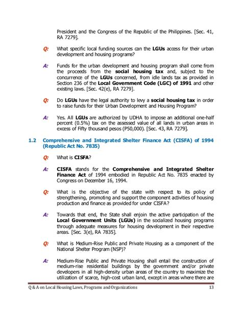 section 42 housing rules q a on local housing laws programs and organizations by