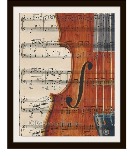 Violin Painting On Old Sheet Music Rebecca Rhodes Painting Sheets