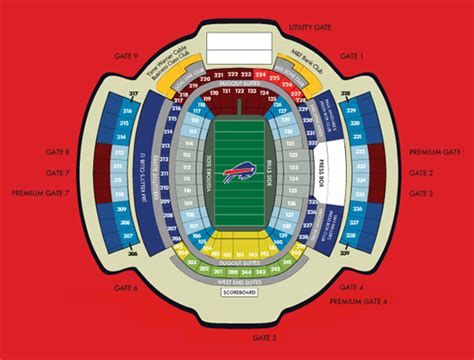 ralph wilson seating chart ralph wilson stadium seating chart