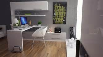 Design Home Office Workspace Green Gray White Office Decor Interior Design Ideas