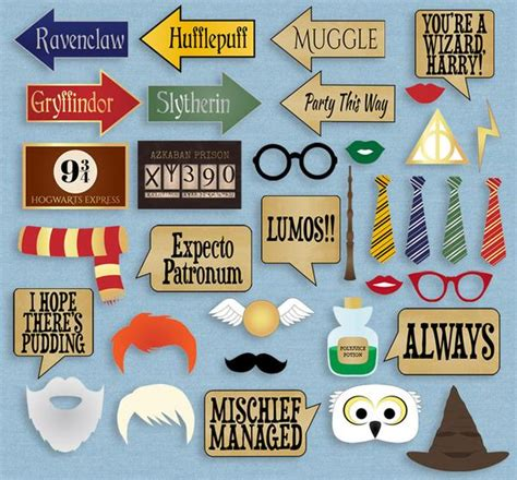 printable harry potter photo booth props 35 x harry potter printable party props pixels and pine