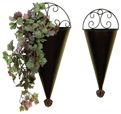 metal wall planter set of 2 brown metal wall planters scroll work