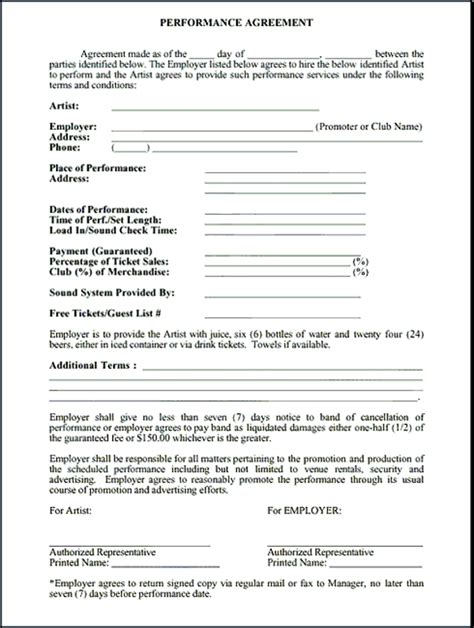 5 Band Contract Exles Pdf Performance Agreement Template Free